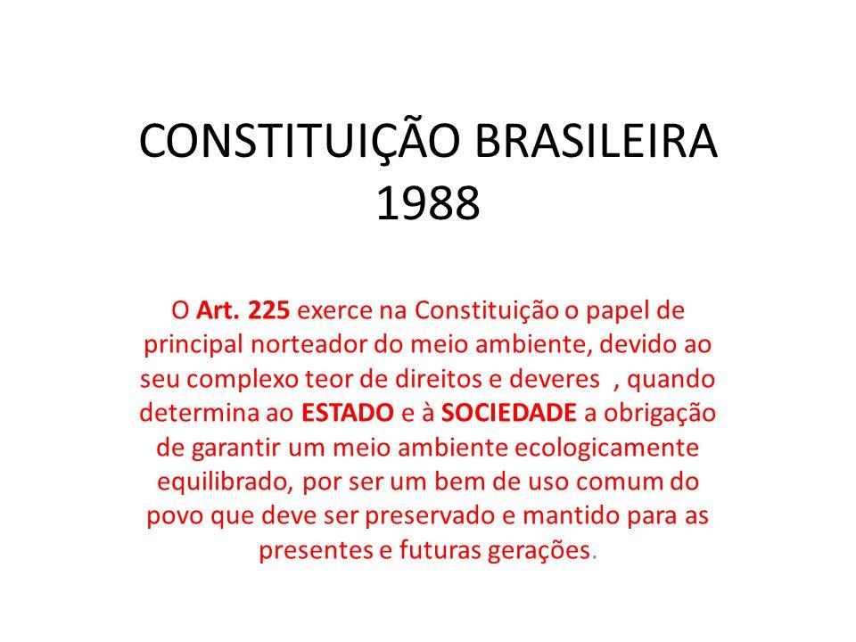 CONSTITUIÇÃO BRASILEIRA 1988 O Art. 225 exerce na Constituição o papel de principal norteador do meio ambiente, devido ao seu complexo teor de direito