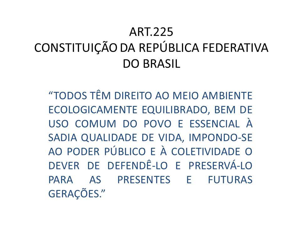 """ART.225 CONSTITUIÇÃO DA REPÚBLICA FEDERATIVA DO BRASIL """"TODOS TÊM DIREITO AO MEIO AMBIENTE ECOLOGICAMENTE EQUILIBRADO, BEM DE USO COMUM DO POVO E ESSE"""