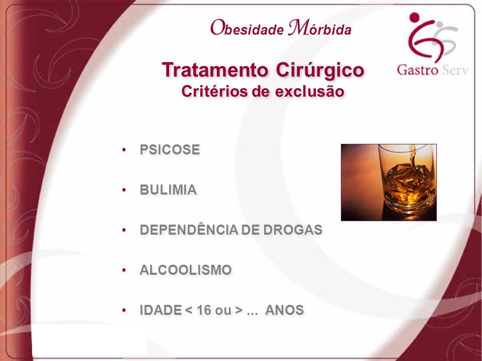 PSICOSE BULIMIA DEPENDÊNCIA DE DROGAS ALCOOLISMO IDADE... ANOS PSICOSE BULIMIA DEPENDÊNCIA DE DROGAS ALCOOLISMO IDADE... ANOS Tratamento Cirúrgico Cri