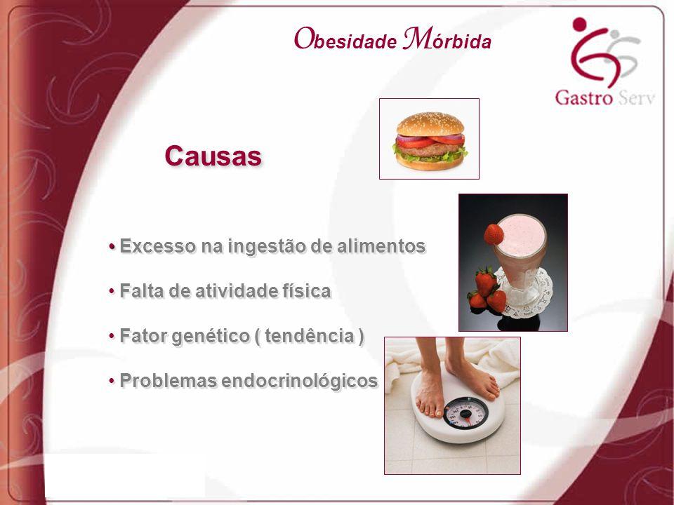 Excesso na ingestão de alimentos Falta de atividade física Fator genético ( tendência ) Problemas endocrinológicos Excesso na ingestão de alimentos Fa