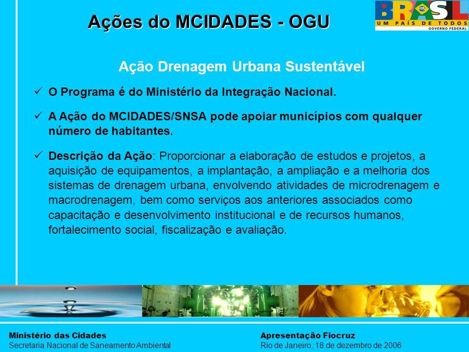 Ministério das Cidades Secretaria Nacional de Saneamento Ambiental Apresentação Fiocruz Rio de Janeiro, 18 de dezembro de 2006 Ações do MCIDADES - OGU