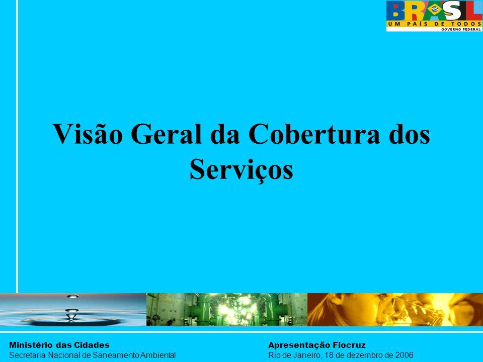 Ministério das Cidades Secretaria Nacional de Saneamento Ambiental Apresentação Fiocruz Rio de Janeiro, 18 de dezembro de 2006 Visão Geral da Cobertur