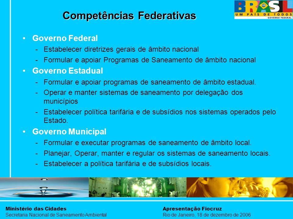 Ministério das Cidades Secretaria Nacional de Saneamento Ambiental Apresentação Fiocruz Rio de Janeiro, 18 de dezembro de 2006 Competências Federativa