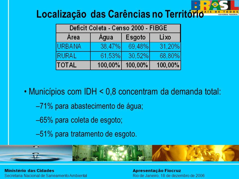 Ministério das Cidades Secretaria Nacional de Saneamento Ambiental Apresentação Fiocruz Rio de Janeiro, 18 de dezembro de 2006 Localização das Carênci