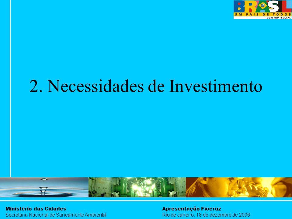 Ministério das Cidades Secretaria Nacional de Saneamento Ambiental Apresentação Fiocruz Rio de Janeiro, 18 de dezembro de 2006 2. Necessidades de Inve