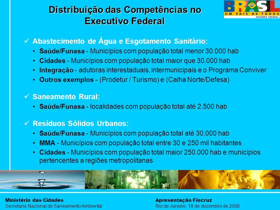 Ministério das Cidades Secretaria Nacional de Saneamento Ambiental Apresentação Fiocruz Rio de Janeiro, 18 de dezembro de 2006 Abastecimento de Água e