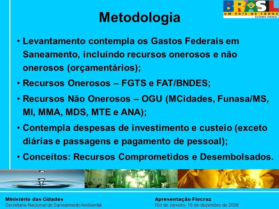 Ministério das Cidades Secretaria Nacional de Saneamento Ambiental Apresentação Fiocruz Rio de Janeiro, 18 de dezembro de 2006 Levantamento contempla