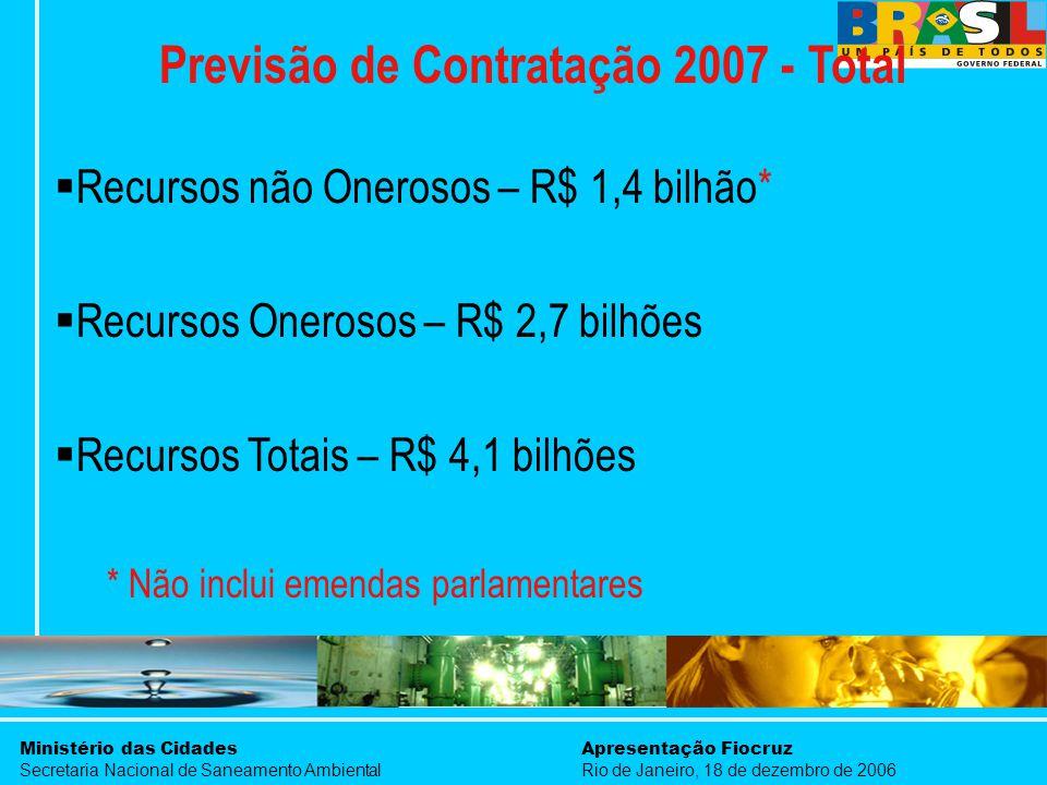 Ministério das Cidades Secretaria Nacional de Saneamento Ambiental Apresentação Fiocruz Rio de Janeiro, 18 de dezembro de 2006 Previsão de Contratação