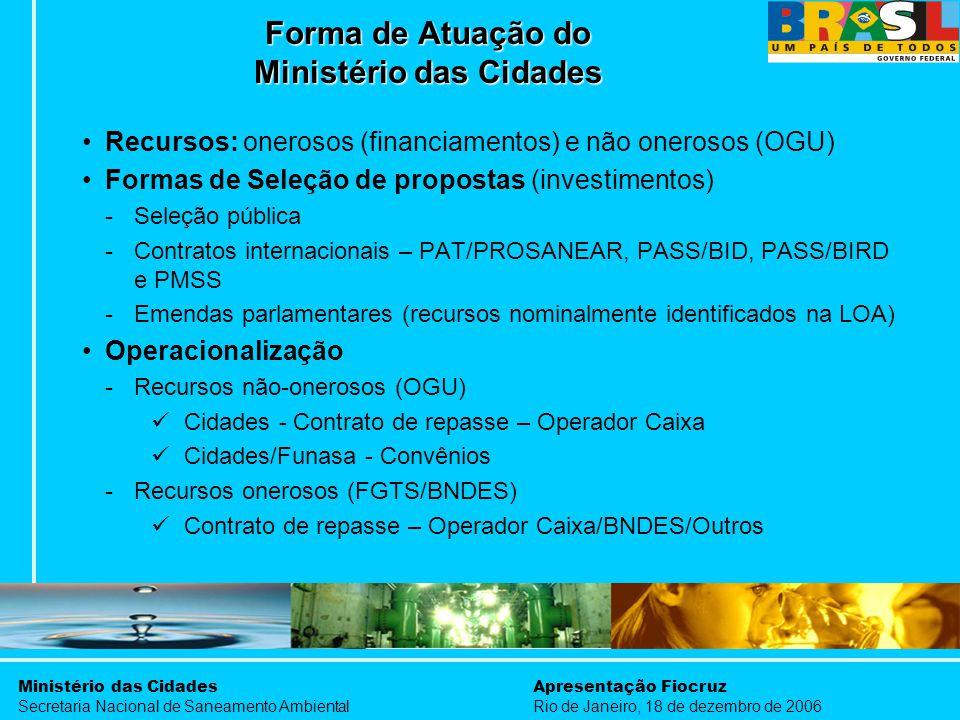 Ministério das Cidades Secretaria Nacional de Saneamento Ambiental Apresentação Fiocruz Rio de Janeiro, 18 de dezembro de 2006 Recursos: onerosos (fin