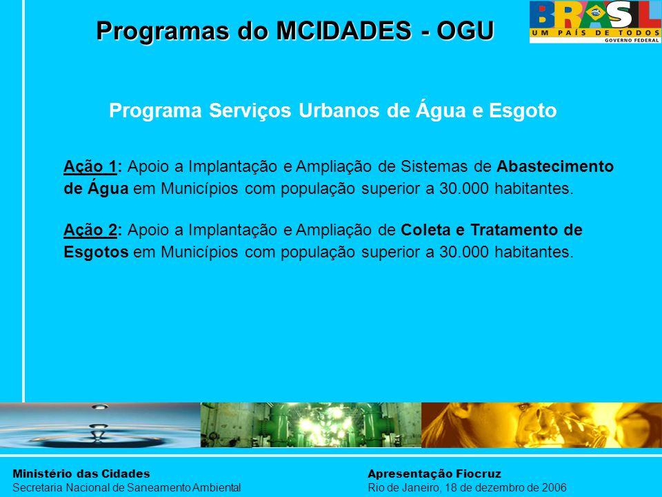 Ministério das Cidades Secretaria Nacional de Saneamento Ambiental Apresentação Fiocruz Rio de Janeiro, 18 de dezembro de 2006 Programa Serviços Urban