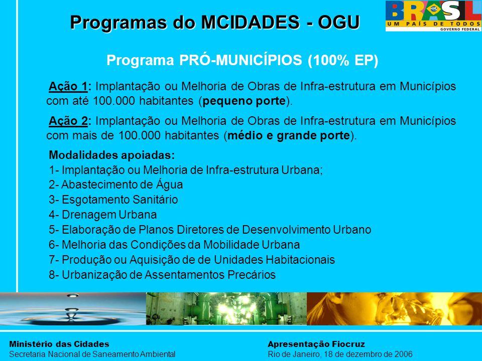 Ministério das Cidades Secretaria Nacional de Saneamento Ambiental Apresentação Fiocruz Rio de Janeiro, 18 de dezembro de 2006 Programas do MCIDADES -