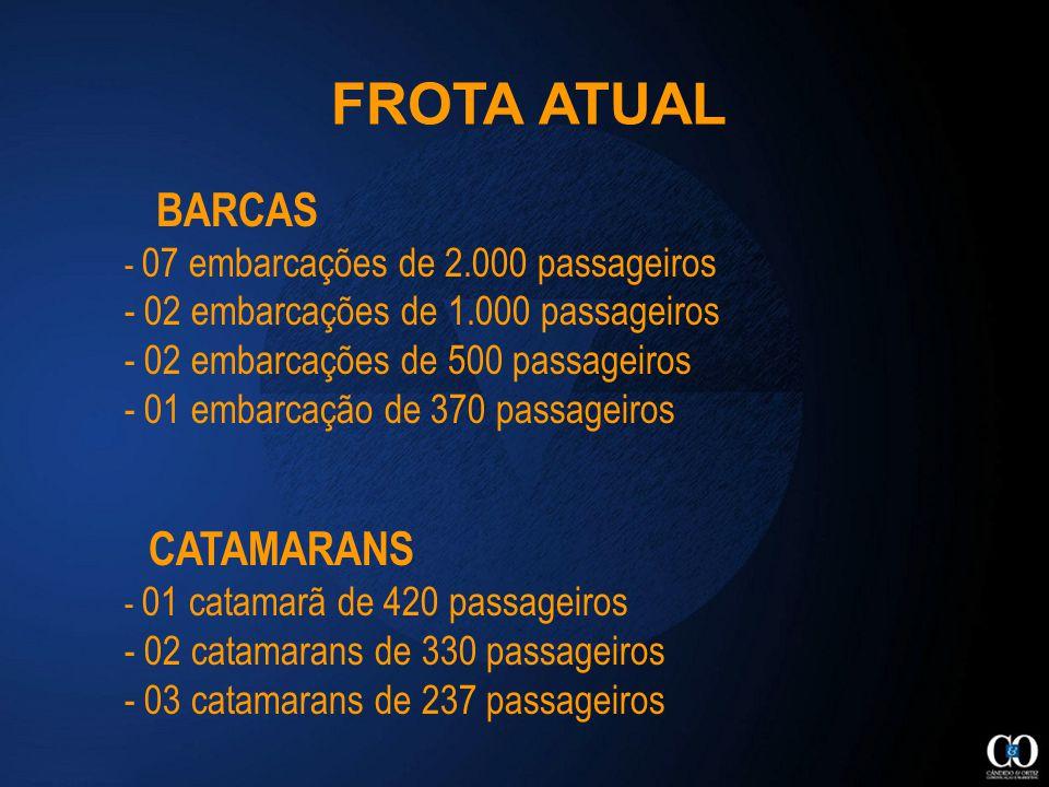 BARCAS - 07 embarcações de 2.000 passageiros - 02 embarcações de 1.000 passageiros - 02 embarcações de 500 passageiros - 01 embarcação de 370 passageiros CATAMARANS - 01 catamarã de 420 passageiros - 02 catamarans de 330 passageiros - 03 catamarans de 237 passageiros FROTA ATUAL