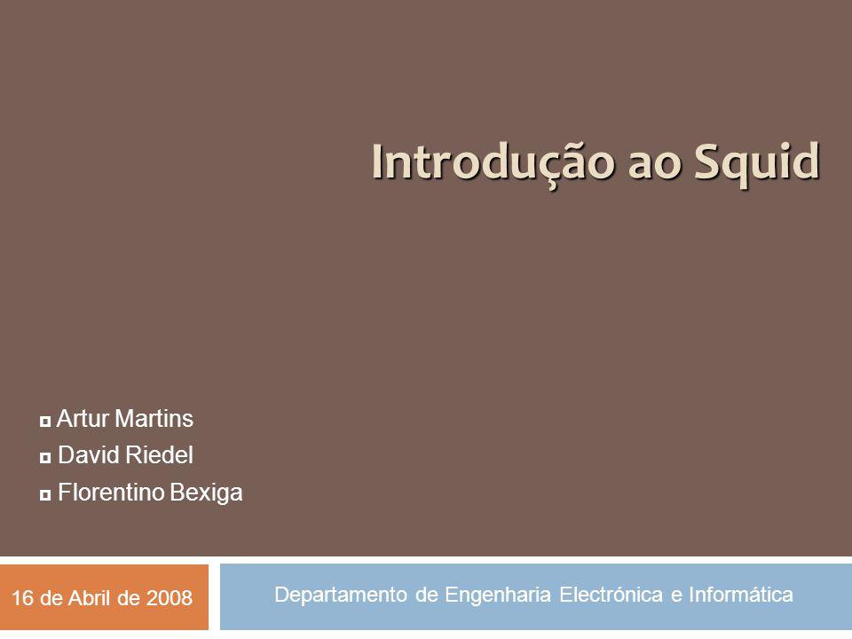 Introdução ao Squid  Artur Martins  David Riedel  Florentino Bexiga Departamento de Engenharia Electrónica e Informática 16 de Abril de 2008