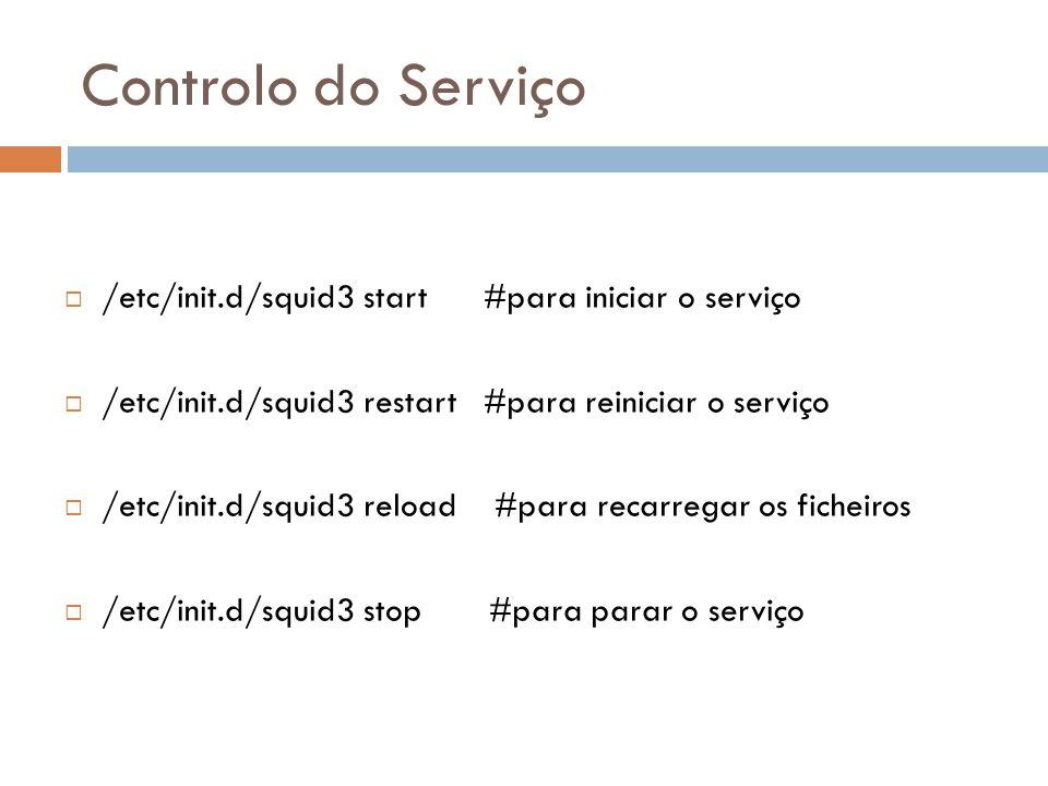Controlo do Serviço  /etc/init.d/squid3 start #para iniciar o serviço  /etc/init.d/squid3 restart #para reiniciar o serviço  /etc/init.d/squid3 reload #para recarregar os ficheiros  /etc/init.d/squid3 stop #para parar o serviço