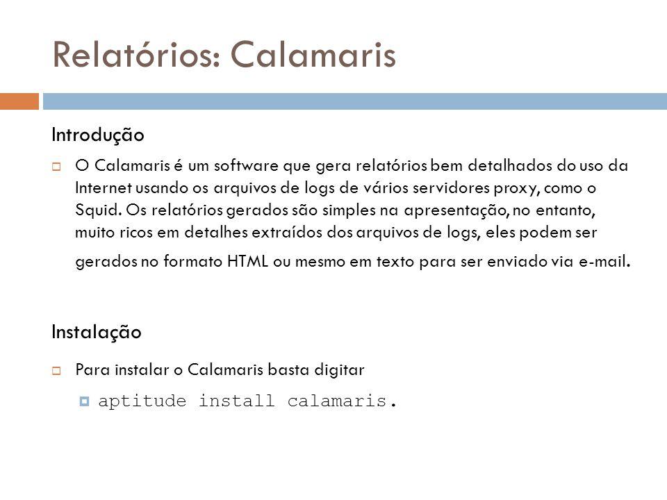 Relatórios: Calamaris Introdução  O Calamaris é um software que gera relatórios bem detalhados do uso da Internet usando os arquivos de logs de vários servidores proxy, como o Squid.