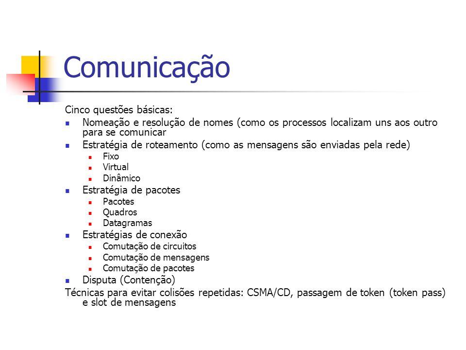 Comunicação Cinco questões básicas: Nomeação e resolução de nomes (como os processos localizam uns aos outro para se comunicar Estratégia de roteamento (como as mensagens são enviadas pela rede) Fixo Virtual Dinâmico Estratégia de pacotes Pacotes Quadros Datagramas Estratégias de conexão Comutação de circuitos Comutação de mensagens Comutação de pacotes Disputa (Contenção) Técnicas para evitar colisões repetidas: CSMA/CD, passagem de token (token pass) e slot de mensagens