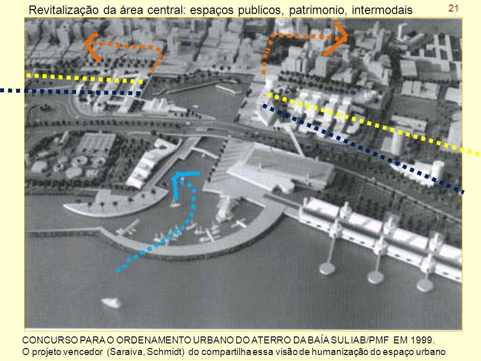 Revitalização da área central: espaços publicos, patrimonio, intermodais CONCURSO PARA O ORDENAMENTO URBANO DO ATERRO DA BAÍA SUL IAB/PMF EM 1999. O p