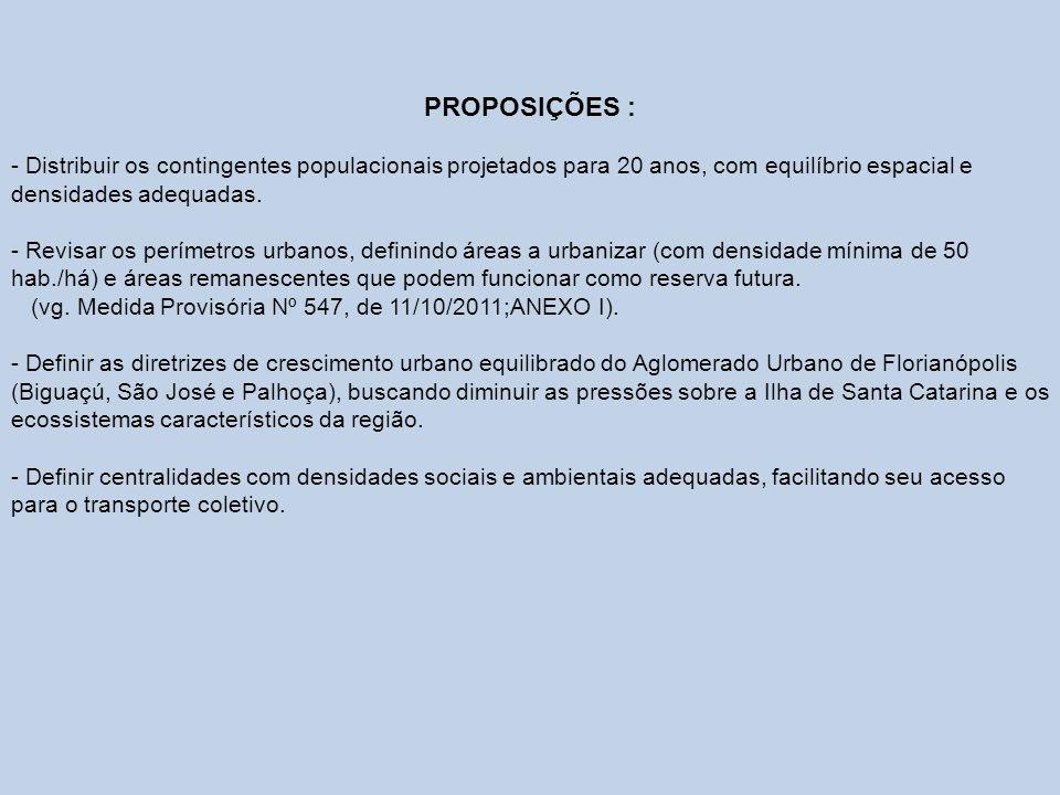 PROPOSIÇÕES : - Distribuir os contingentes populacionais projetados para 20 anos, com equilíbrio espacial e densidades adequadas. - Revisar os perímet