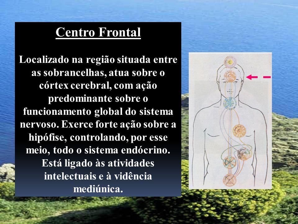 Centro Frontal Localizado na região situada entre as sobrancelhas, atua sobre o córtex cerebral, com ação predominante sobre o funcionamento global do
