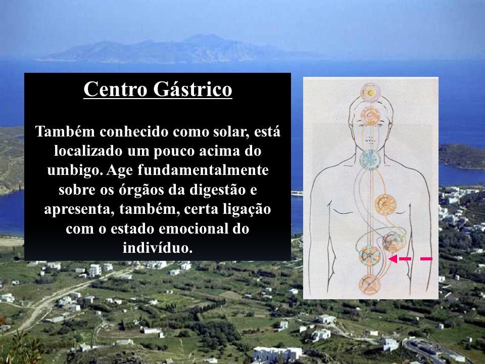 Centro Gástrico Também conhecido como solar, está localizado um pouco acima do umbigo. Age fundamentalmente sobre os órgãos da digestão e apresenta, t