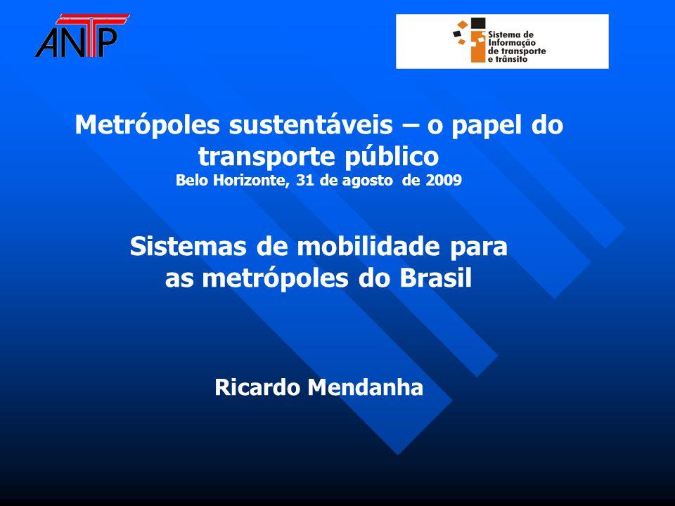 Metrópoles sustentáveis – o papel do transporte público Belo Horizonte, 31 de agosto de 2009 Sistemas de mobilidade para as metrópoles do Brasil Ricardo Mendanha