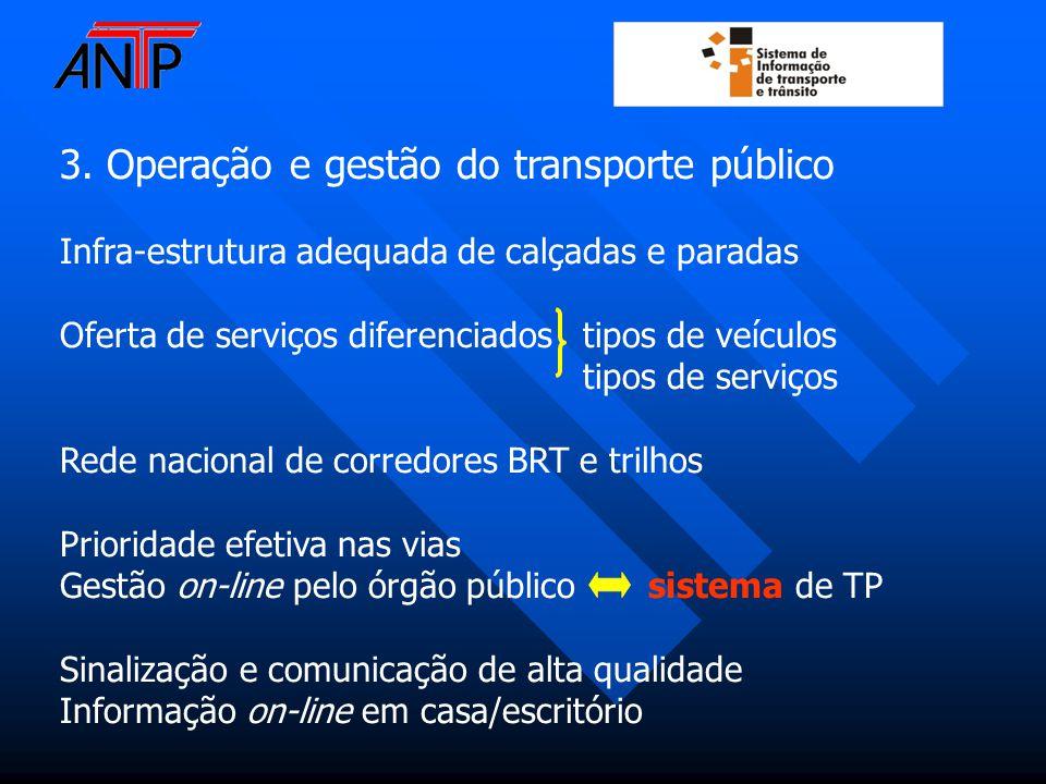 3. Operação e gestão do transporte público Infra-estrutura adequada de calçadas e paradas Oferta de serviços diferenciados tipos de veículos tipos de