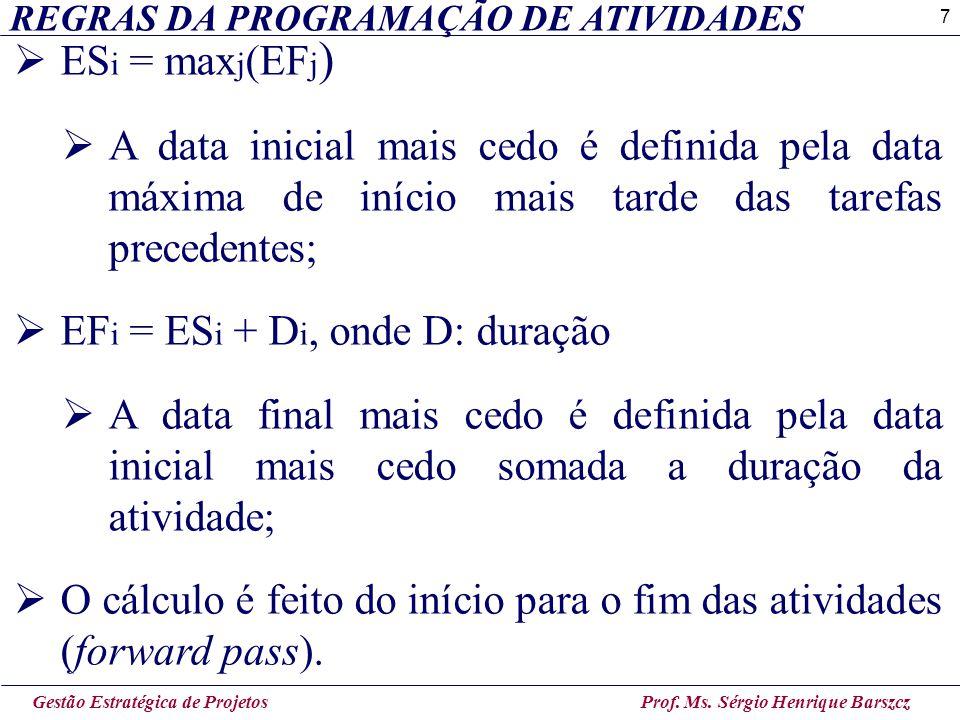 7 REGRAS DA PROGRAMAÇÃO DE ATIVIDADES Gestão Estratégica de Projetos Prof. Ms. Sérgio Henrique Barszcz  ES i = max j (EF j )  A data inicial mais ce