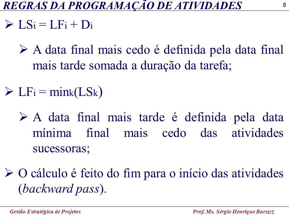 8 REGRAS DA PROGRAMAÇÃO DE ATIVIDADES Gestão Estratégica de Projetos Prof. Ms. Sérgio Henrique Barszcz  LS i = LF i + D i  A data final mais cedo é