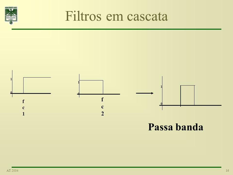 16AT 2004 Filtros em cascata fc2fc2 1 0 1 0 fc1fc1 1 0 Passa banda