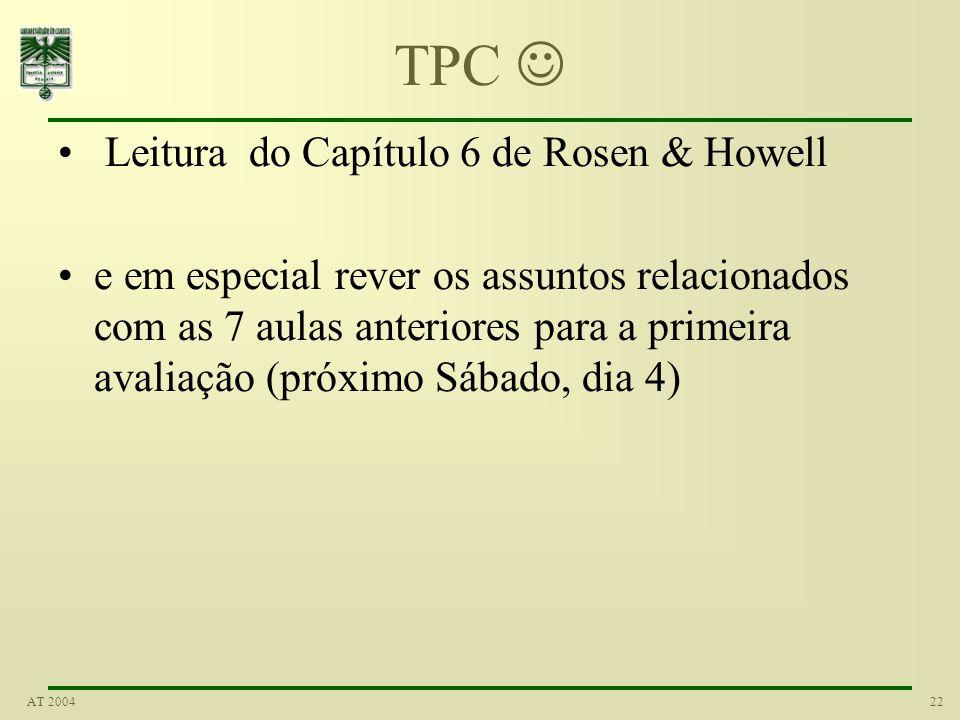 22AT 2004 TPC Leitura do Capítulo 6 de Rosen & Howell e em especial rever os assuntos relacionados com as 7 aulas anteriores para a primeira avaliação (próximo Sábado, dia 4)