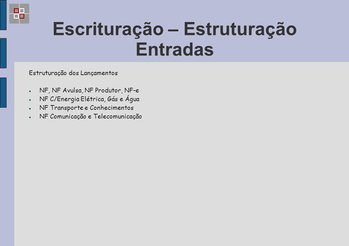 Escrituração – Estruturação Entradas Estruturação dos Lançamentos NF, NF Avulsa, NF Produtor, NF-e NF C/Energia Elétrica, Gás e Água NF Transporte e C