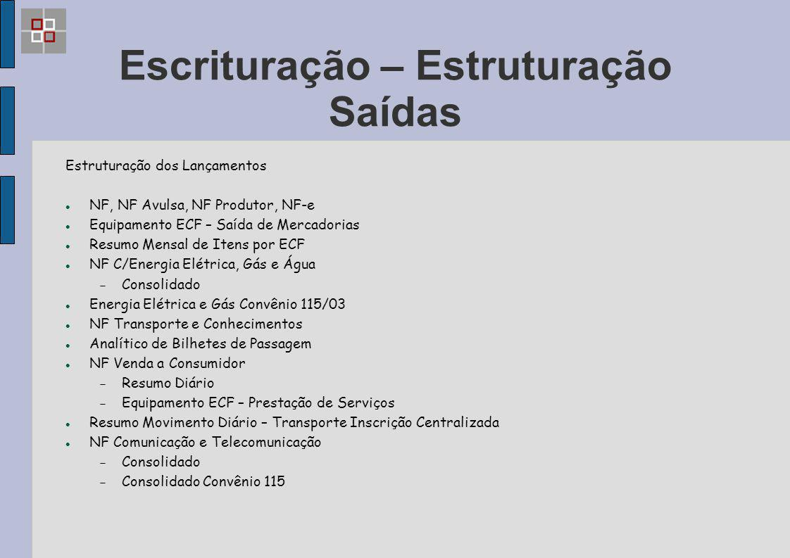 Escrituração – Estruturação Saídas Estruturação dos Lançamentos NF, NF Avulsa, NF Produtor, NF-e Equipamento ECF – Saída de Mercadorias Resumo Mensal