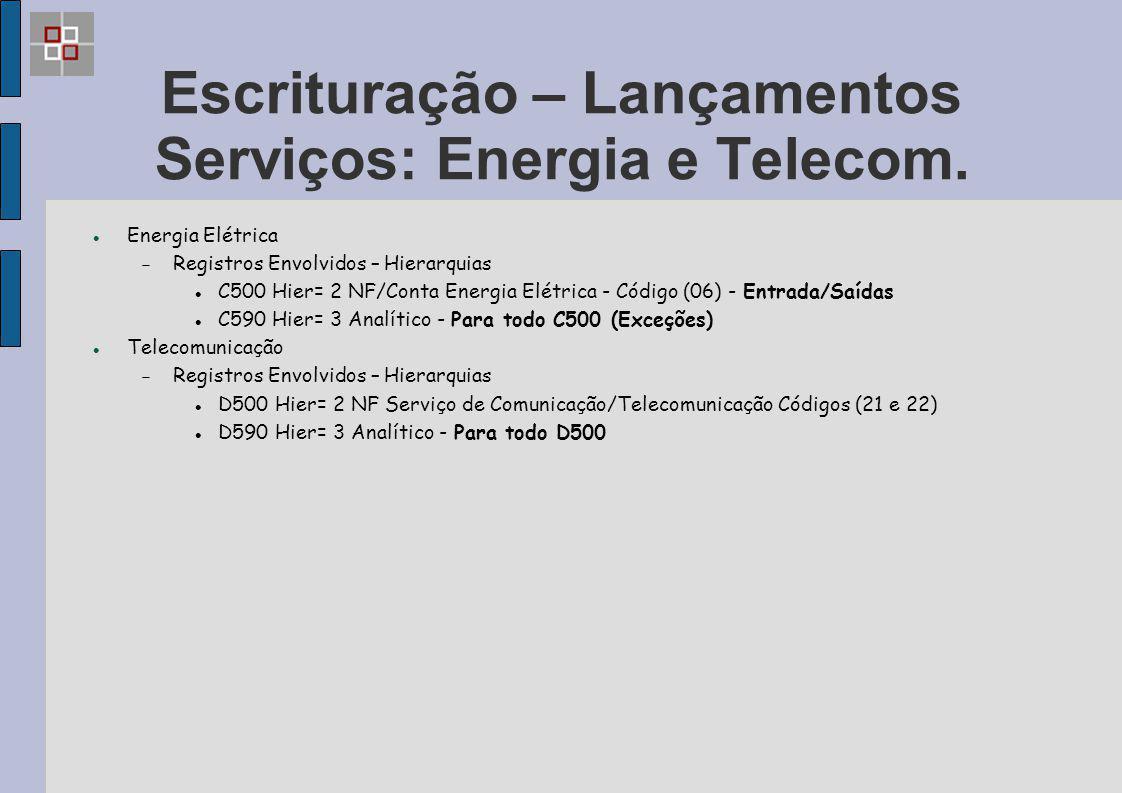 Escrituração – Lançamentos Serviços: Energia e Telecom. Energia Elétrica  Registros Envolvidos – Hierarquias C500 Hier= 2 NF/Conta Energia Elétrica -