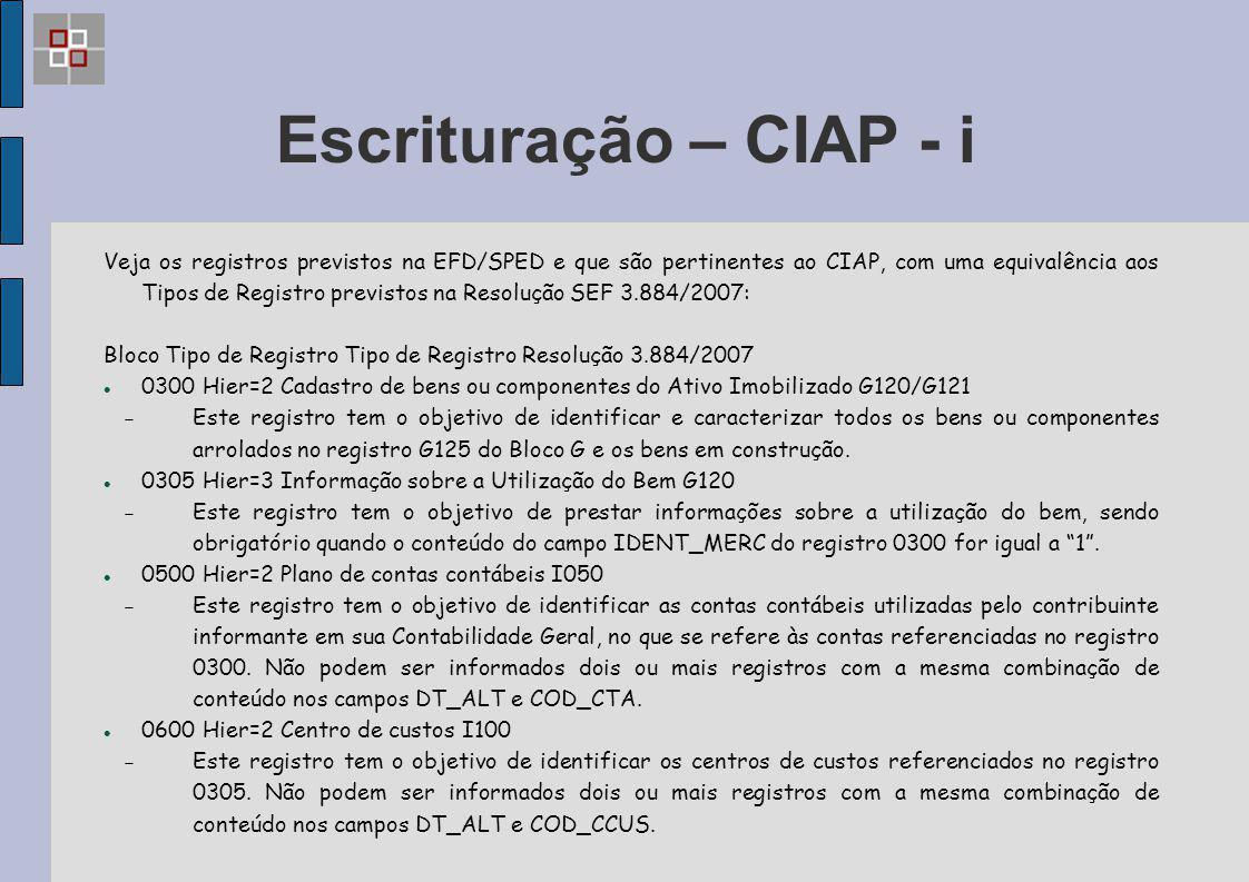 Escrituração – CIAP - i Veja os registros previstos na EFD/SPED e que são pertinentes ao CIAP, com uma equivalência aos Tipos de Registro previstos na