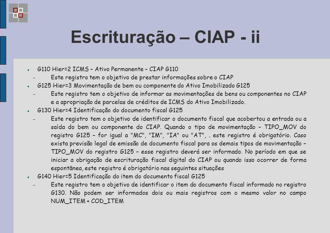 Escrituração – CIAP - ii G110 Hier=2 ICMS – Ativo Permanente – CIAP G110  Este registro tem o objetivo de prestar informações sobre o CIAP G125 Hier=