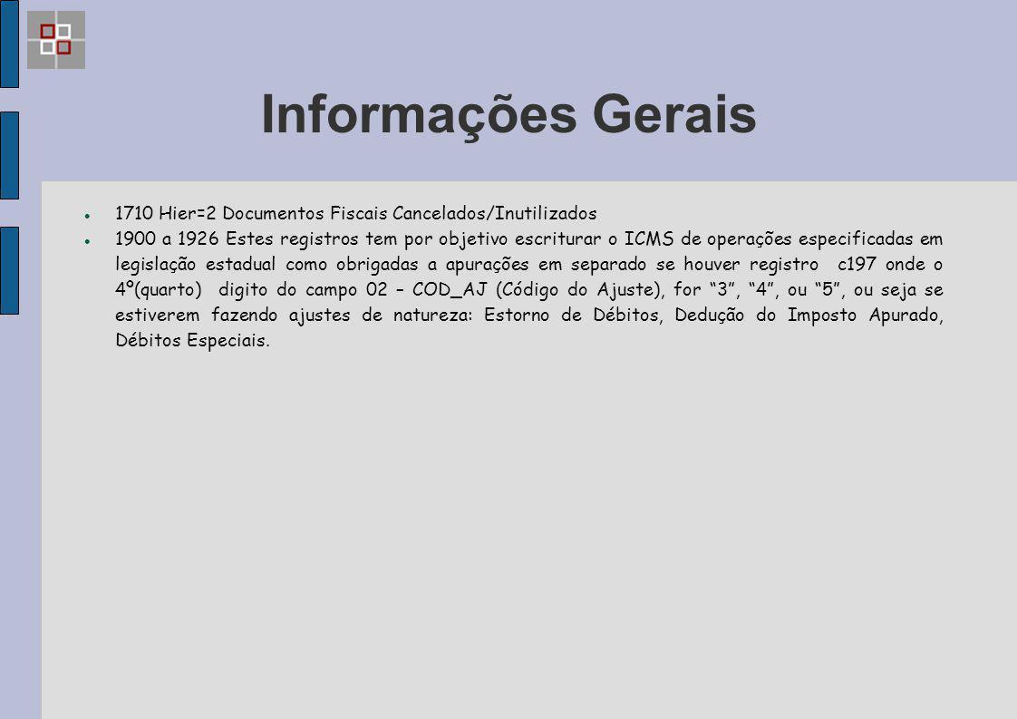 Informações Gerais 1710 Hier=2 Documentos Fiscais Cancelados/Inutilizados 1900 a 1926 Estes registros tem por objetivo escriturar o ICMS de operações