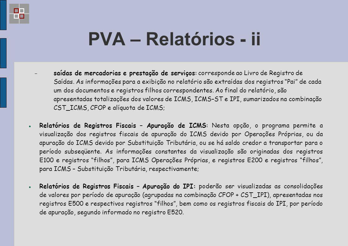 PVA – Relatórios - ii  saídas de mercadorias e prestação de serviços: corresponde ao Livro de Registro de Saídas. As informações para a exibição no r