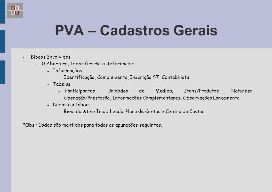 PVA – Cadastros Gerais Blocos Envolvidos  0 Abertura, Identificação e Referências Informações  Identificação, Complemento, Inscrição ST, Contabilist