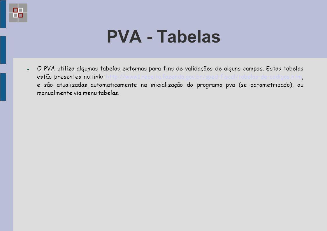 PVA - Tabelas O PVA utiliza algumas tabelas externas para fins de validações de alguns campos. Estas tabelas estão presentes no link: http://www1.rece