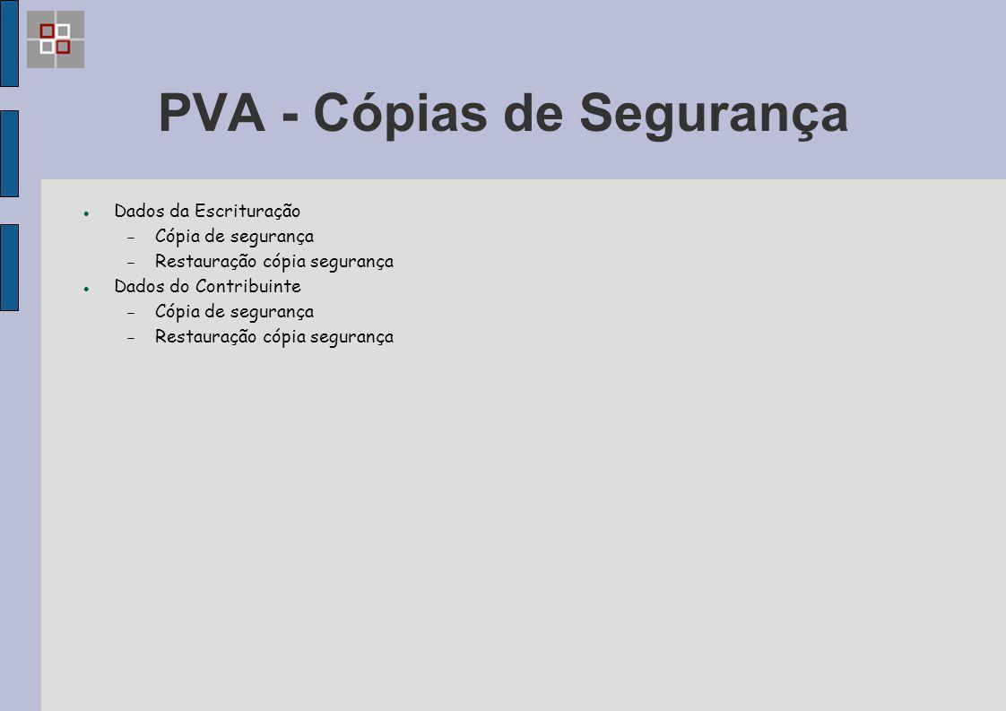PVA - Cópias de Segurança Dados da Escrituração  Cópia de segurança  Restauração cópia segurança Dados do Contribuinte  Cópia de segurança  Restau
