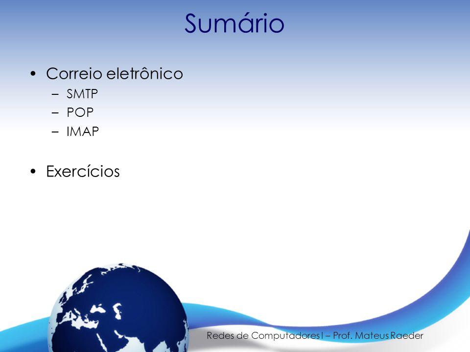 Redes de Computadores I – Prof.