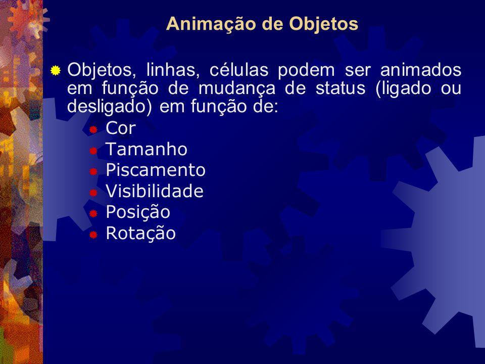 Animação de Objetos  Objetos, linhas, células podem ser animados em função de mudança de status (ligado ou desligado) em função de:  Cor  Tamanho  Piscamento  Visibilidade  Posição  Rotação
