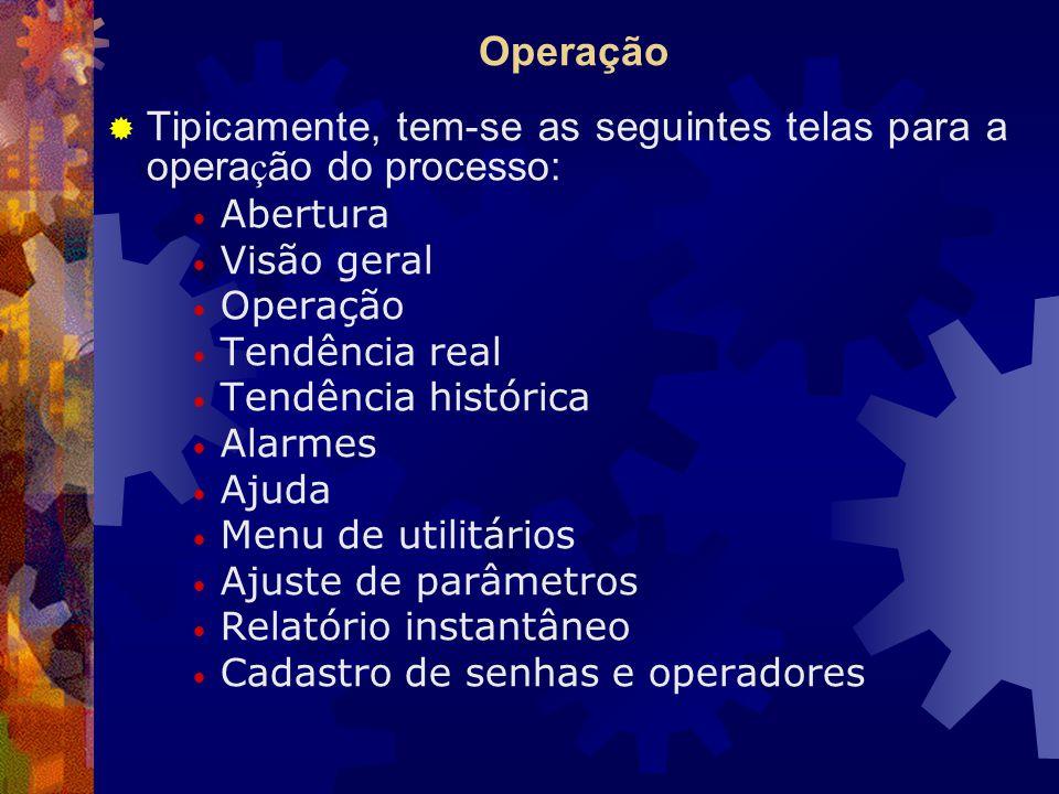 Operação  Tipicamente, tem-se as seguintes telas para a opera ç ão do processo: Abertura Visão geral Operação Tendência real Tendência histórica Alarmes Ajuda Menu de utilitários Ajuste de parâmetros Relatório instantâneo Cadastro de senhas e operadores
