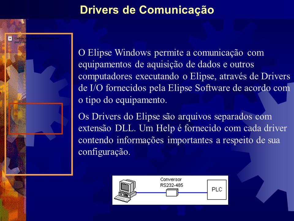 Drivers de Comunicação O Elipse Windows permite a comunicação com equipamentos de aquisição de dados e outros computadores executando o Elipse, através de Drivers de I/O fornecidos pela Elipse Software de acordo com o tipo do equipamento.