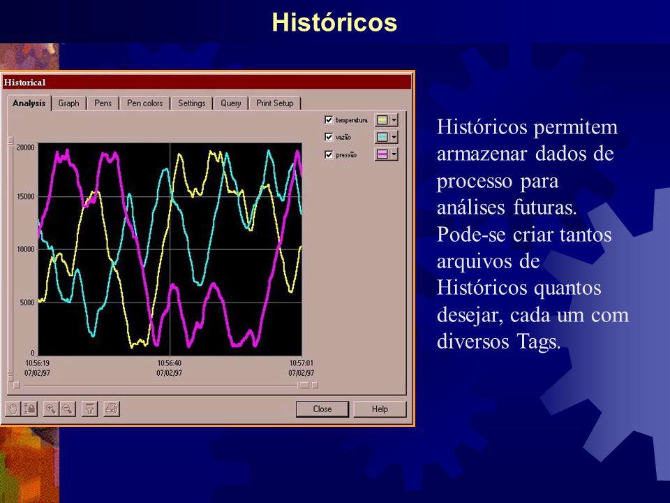 Históricos Históricos permitem armazenar dados de processo para análises futuras.
