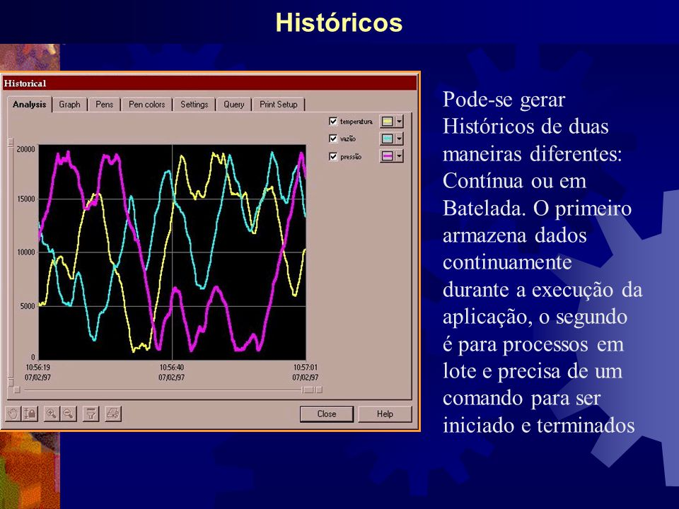 Históricos Pode-se gerar Históricos de duas maneiras diferentes: Contínua ou em Batelada.