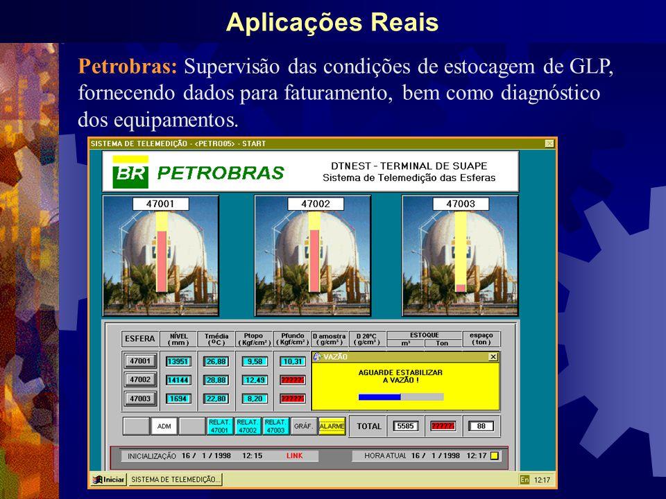 Aplicações Reais Petrobras: Supervisão das condições de estocagem de GLP, fornecendo dados para faturamento, bem como diagnóstico dos equipamentos.