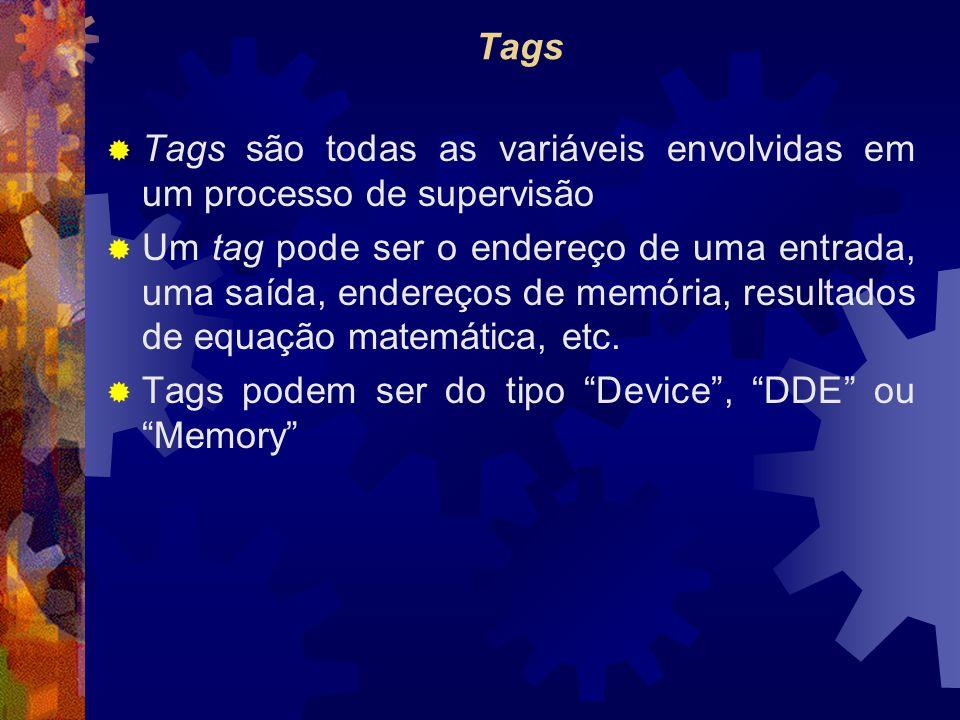 Tags  Tags são todas as variáveis envolvidas em um processo de supervisão  Um tag pode ser o endereço de uma entrada, uma saída, endereços de memória, resultados de equação matemática, etc.