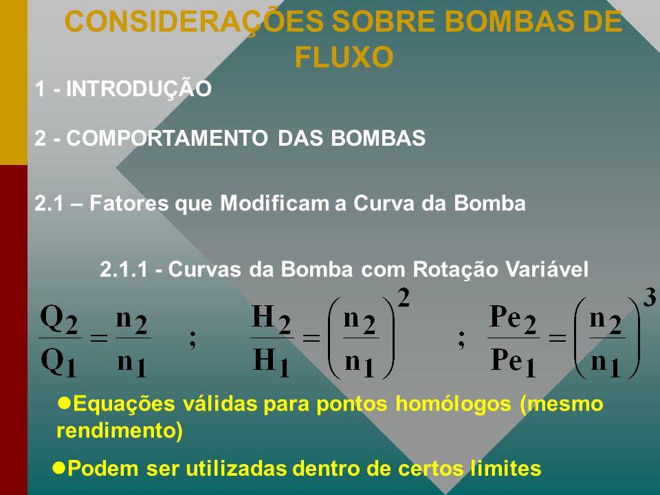 CONSIDERAÇÕES SOBRE BOMBAS DE FLUXO 2.1 – Fatores que Modificam a Curva da Bomba 2.1.1 - Curvas da Bomba com Rotação Variável Equações válidas para po