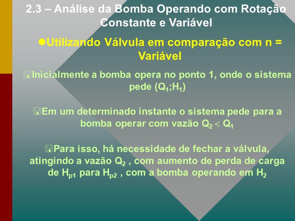 2.3 – Análise da Bomba Operando com Rotação Constante e Variável Utilizando Válvula em comparação com n = Variável <Inicialmente a bomba opera no pont
